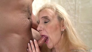 Lusty mature whore Nanney is happy to ride strong cock for orgasm