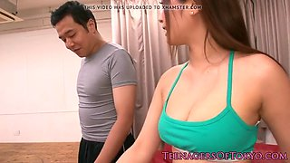 fit asian teen dickriding ontop after workout