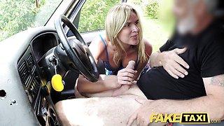 Naughty Fake Taxi Mum with natural tits gets big british cock