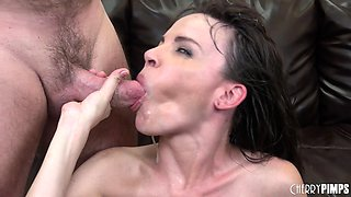 Dana DeArmond blows and fucks an old dude and sucks out his jizz