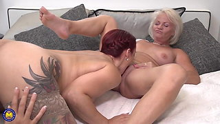 Lesbian home threesome with busty old and young girls