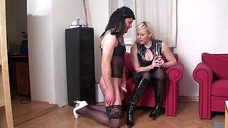 crossdresser sissy freddy have to jerk on ladys boots