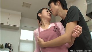 Takita wet pussy fingered then pounded hardcore in the kitchen