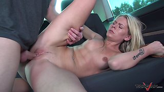 Blonde Claudia gets all sweaty from all the car fucking