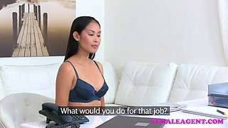 Female Agent Sexy asian model licks and tastes her first pussy