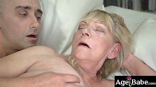 Granny Irene got pounded invarious ways and got a warm load