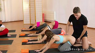 Yoga coach bangs two hot babes