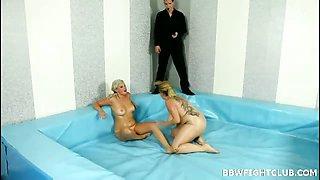 Naked blondes wrestling