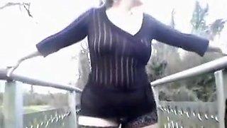 Milf European vixen wife in the park flashing her cunt