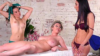 Massage girl enjoys sexiest fake tittied cougar with big boobs Dee Williams