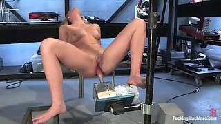 stunning blonde's pleased by a fucking machine