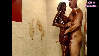 fitness couple chocolate shower
