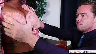 Pretty black boss Kyle Mason finally lets her employee suck her boobies