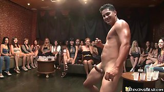 Horny women suck male stripper's cock
