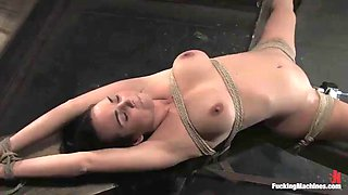 busty brunette tries on a machine while tied up