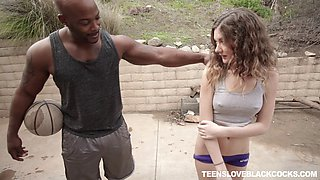 Sporty teen fucks her hung black trainer hardcore after a practice session