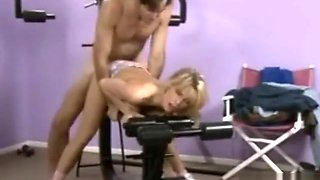 Toned athletic blonde milf Tiffany Million fucked hard during workout