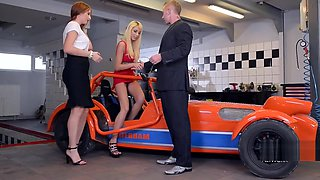 Eva Berger And Kimber Delice Hot Footsie Action On The Caterham Race Car