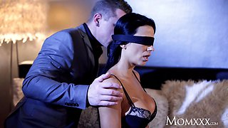 Mom Busty sexy Milf in blindfolded blowjob creampie orgasm