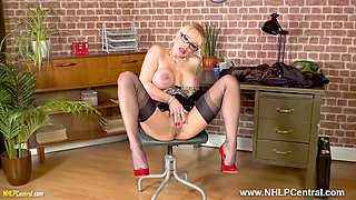 Blonde big tits Secretary Tara Spades strips off panties wanks on desk in sheer nylons and heels