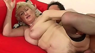 Granny having fun on the couch
