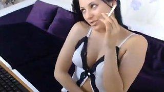 Slutty babe loves to smoke cigarettes
