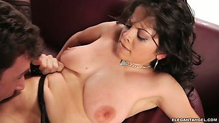 Full natural bitch with saggy tits Evie Delatosso is fucked in different positions