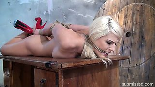 Kinky dude is preparing sex-appeal blonde Blanche Bradburry for punishment