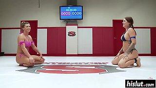 Sexy wrestling with Ariel X and Karmen Karma