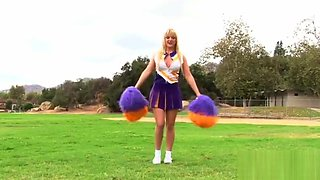 Cheerleader Tristyn Kennedy eats jizz after pounding