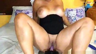 Busty Babe Fucks Herself With Dildo Machine