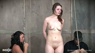 Cruel mistress and her assistant punish pussy of bondage hoe Nora Riley