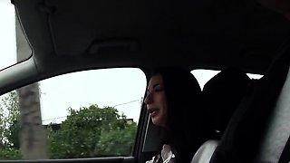 Hitchhiking eurobabe gives driver footjob