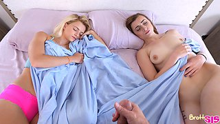 Morning fucking with slut Riley Star next to his sleeping wife