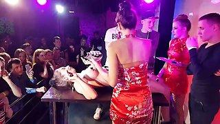 Striptease, eating sushi