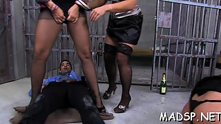 Lucky man gets screwed by a group of smoking sexy beauties