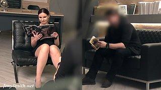 Silence. Jeny Smith with no panties teasing a man. Hidden camera prank