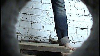 White stranger chick in jeans caught on hidden cam in the toilet room