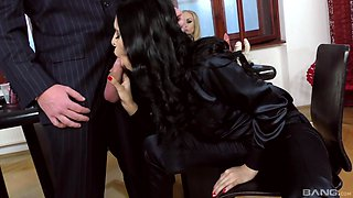 Naughty Dolly Diore and her girlfriends love sucking on a dick