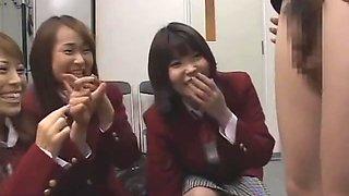 Asian teacher gets 3 schoolgirls to inspect dick sph (censored)