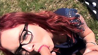 german big tits redhead in romantic outdoor with facial