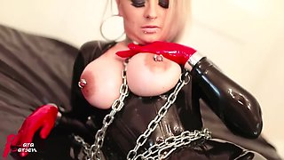 Latex Slave Nipple Piercings Mask