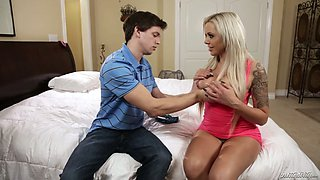 Big tittied blonde Nina Elle seduces her stepbrother and sucks his big pole