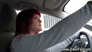 Emo girlfriend teasing in the car