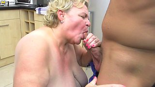 Curvy Granny Sucking And Fucking A Way Younger Dude In Her Kitchen - MatureNL