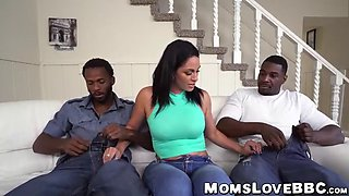 brunette mommy with big tits and tattooes slammed by 2 bbc's