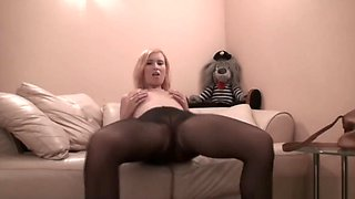 Blonde in pantyhose will definitely get you addicted