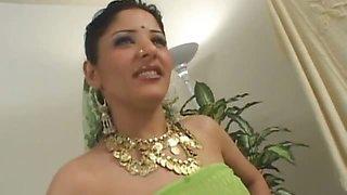 Cute Arab bellydancing girl showing her