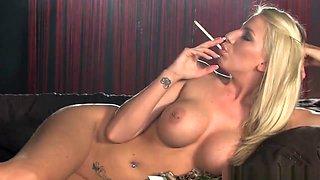 Nude girl smoking and mastrubating