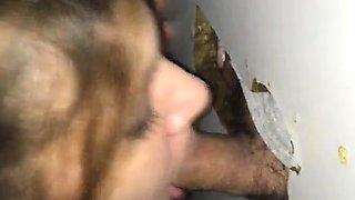 Busty glory hole amateur sloppy blowjob